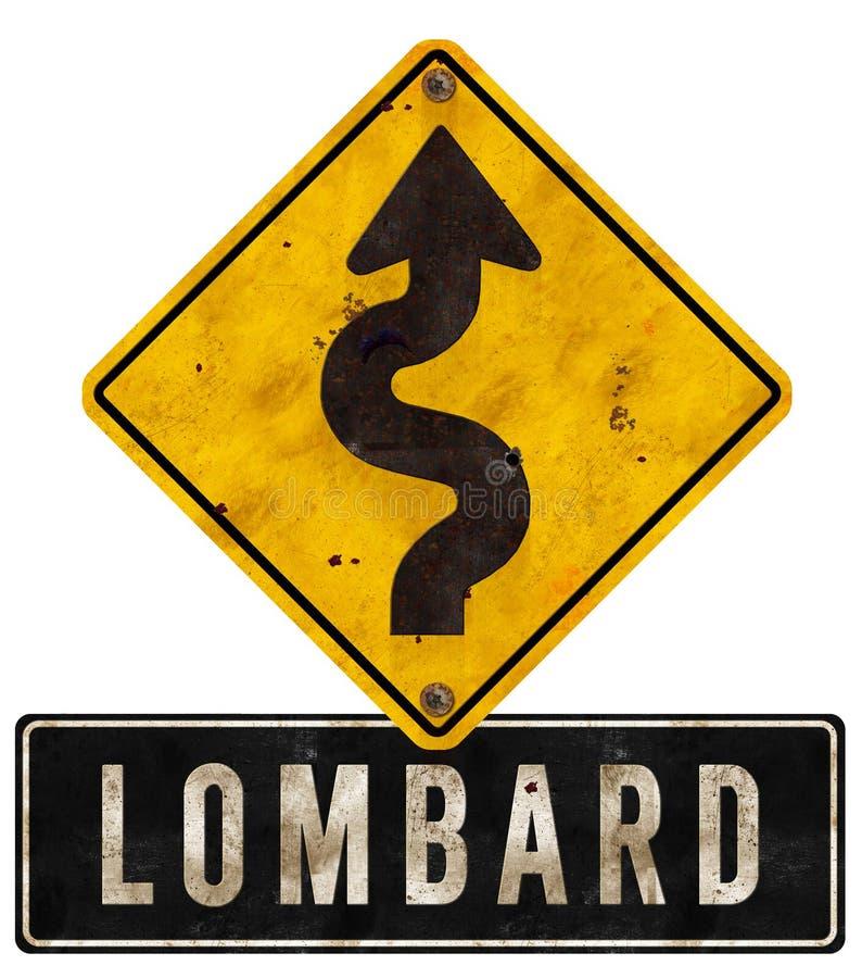 伦巴第路牌旧金山弯曲的难看的东西 免版税库存照片