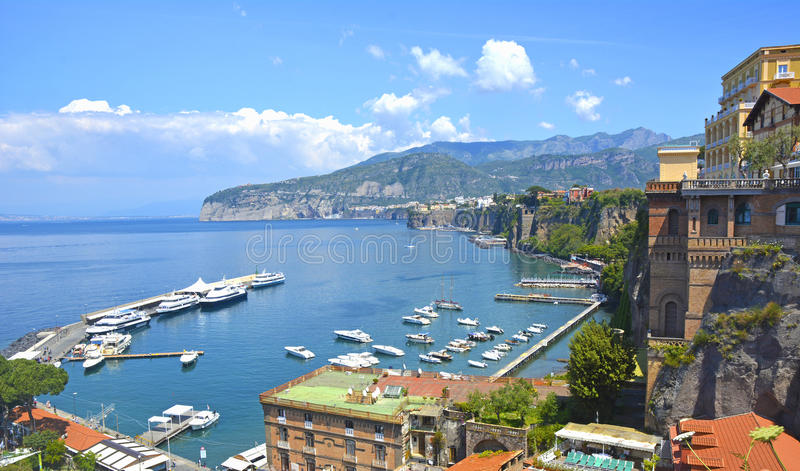 索伦托海岸,在意大利南部 免版税库存照片