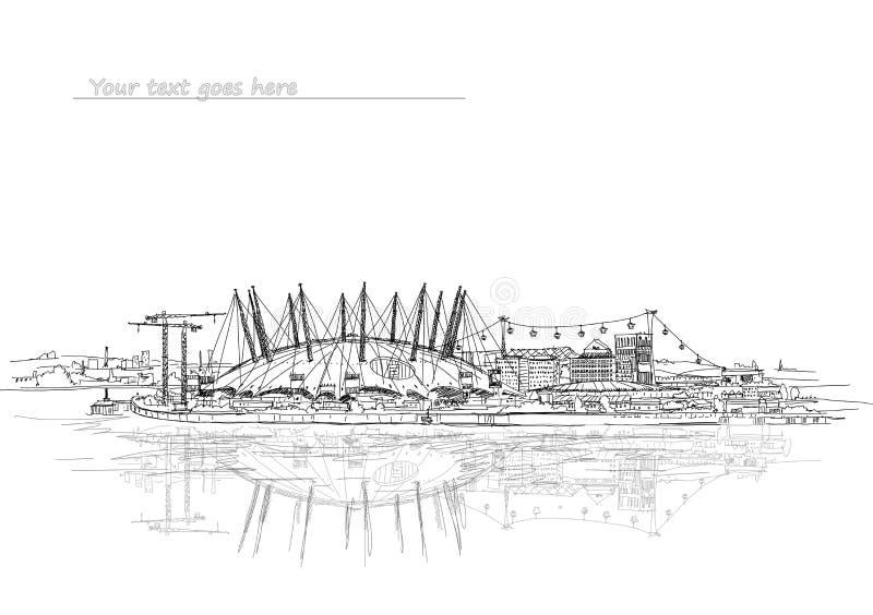 伦敦与表现竞技场的剪影例证 库存例证
