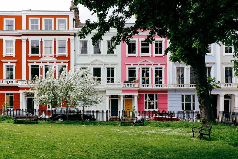 伦敦五颜六色的房子  库存照片