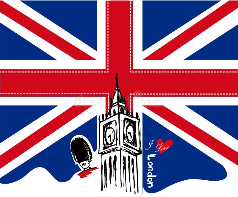 伦敦传染媒介例证/I爱伦敦设计 向量例证