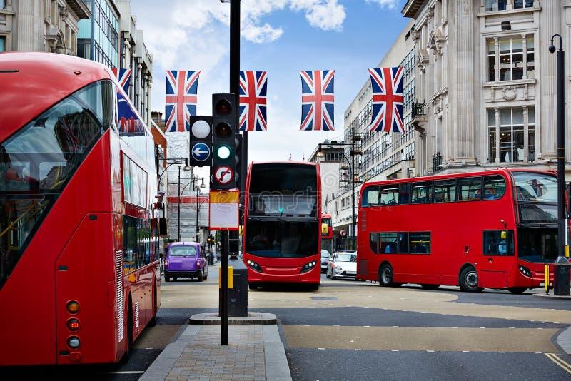 伦敦公共汽车牛津街W1威斯敏斯特 免版税库存图片