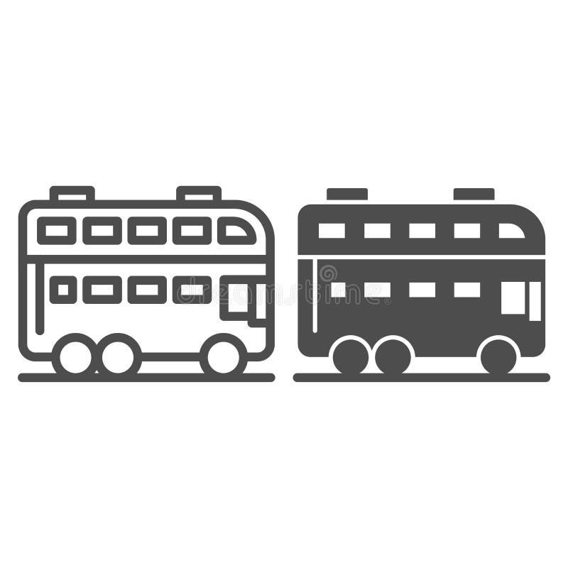 伦敦公共汽车线路和纵的沟纹象 双层公共汽车在白色隔绝的传染媒介例证 E 皇族释放例证