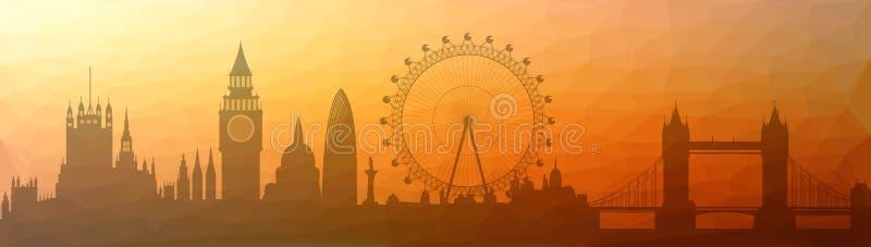 伦敦分成三角形市的地平线 库存例证