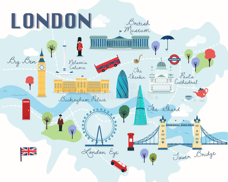 伦敦吸引力传染媒介和例证地图  库存例证
