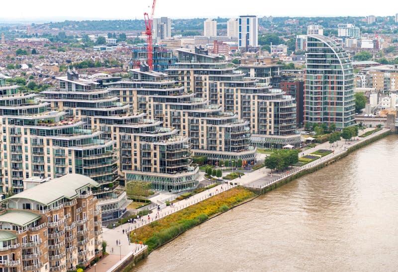 伦敦和泰晤士河直升机视图  库存图片