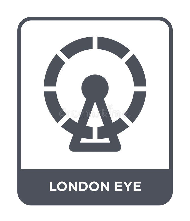 伦敦在时髦设计样式的眼睛象 伦敦在白色背景隔绝的眼睛象 伦敦眼睛现代传染媒介的象简单和 库存例证