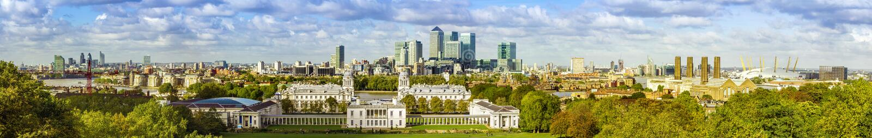 伦敦地平线形式格林威治公园 库存照片