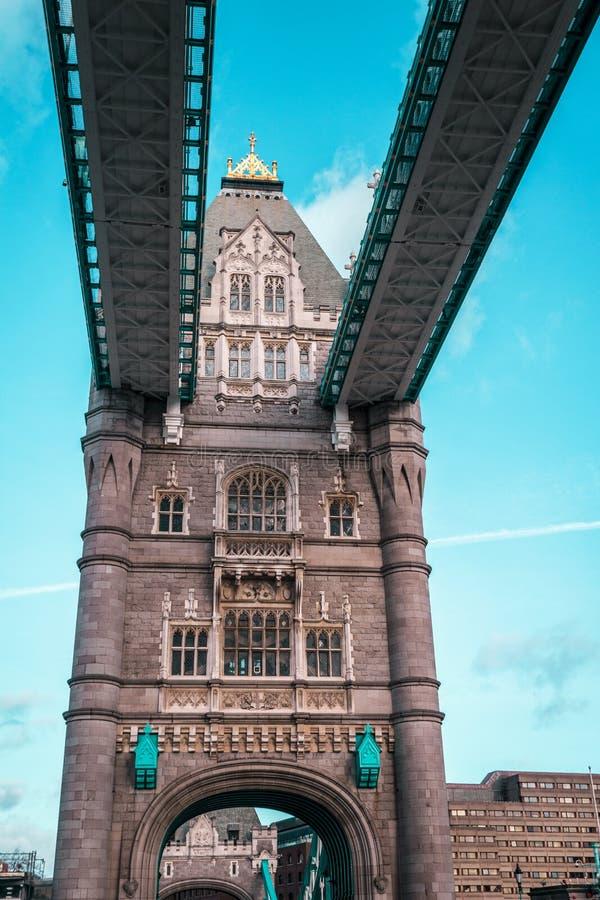 伦敦塔桥梁,晴朗的天气,英国 免版税库存图片