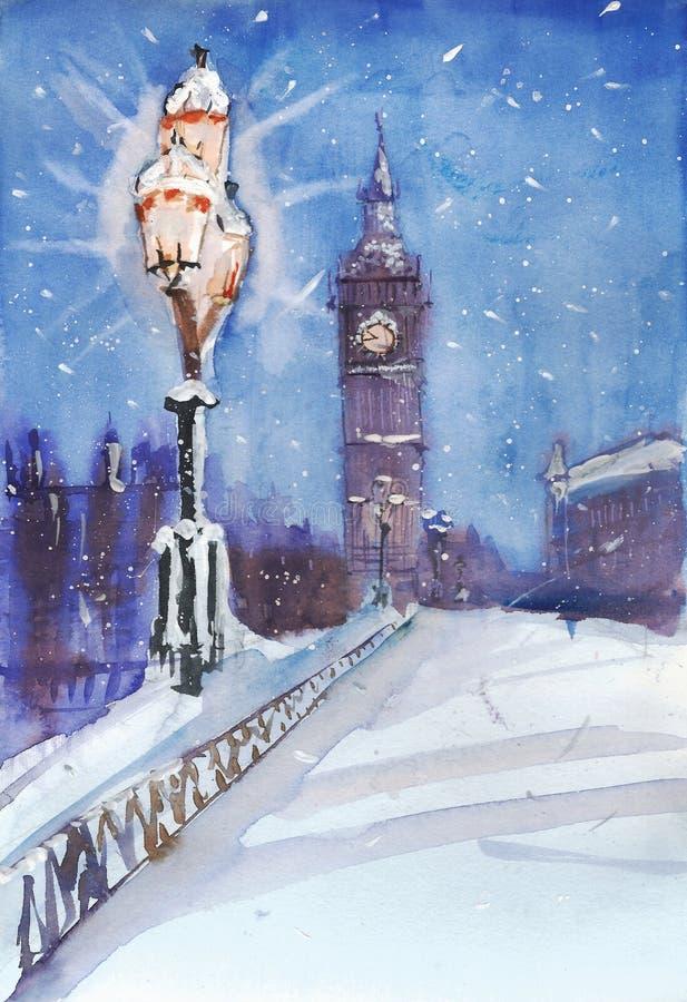 伦敦夜街道视图绘画、街灯和大本钟 库存例证