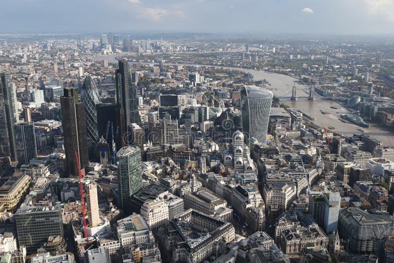 伦敦市地平线视图从上面 库存图片