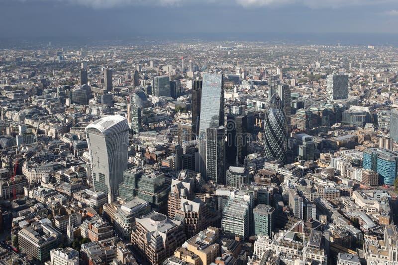 伦敦市地平线视图从上面 免版税库存照片