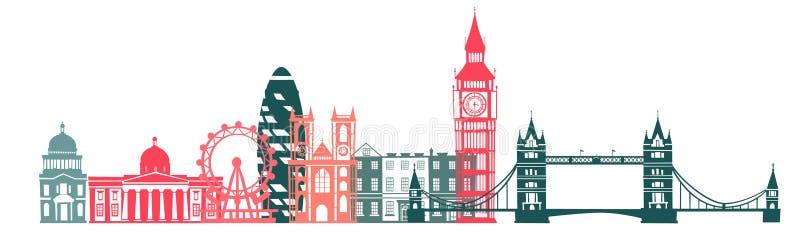 伦敦市地平线颜色剪影背景 也corel凹道例证向量 库存例证