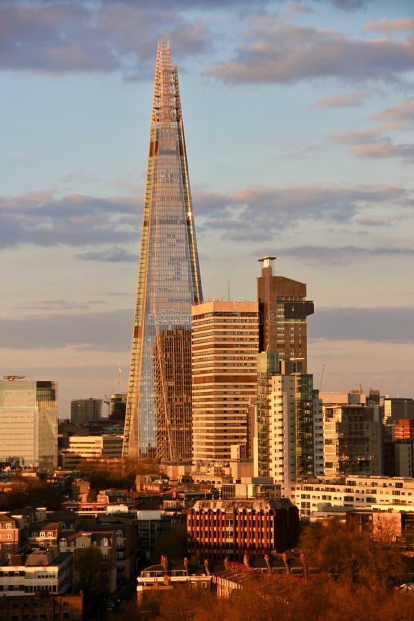 伦敦市地平线-碎片摩天大楼 库存照片