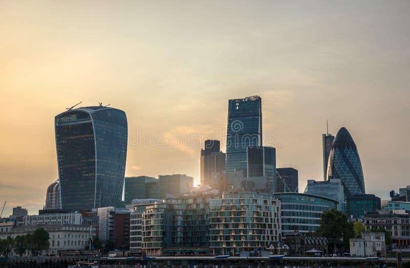 伦敦市看法日落的 免版税图库摄影