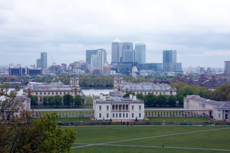 伦敦市看法从格林威治的 图库摄影