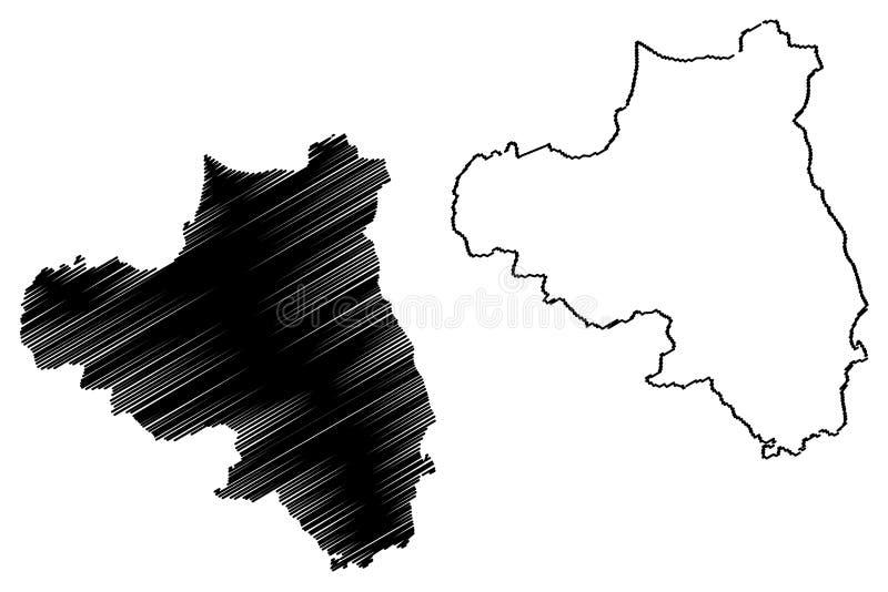 伦敦德里郡地图传染媒介 库存例证