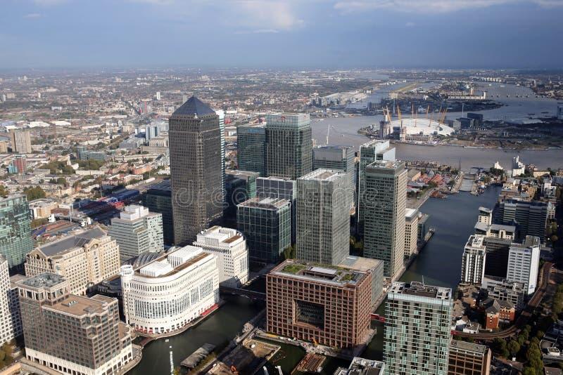 伦敦港区地平线视图从上面 免版税库存图片