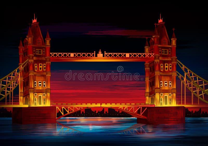 伦敦的塔桥梁举世闻名的历史纪念碑 库存例证
