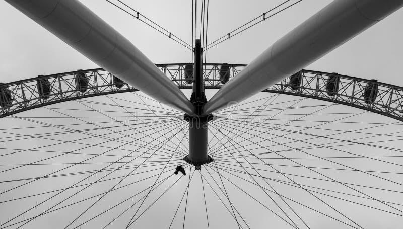 伦敦眼的不同的观点在黑白的 库存图片