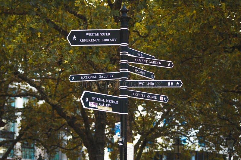 伦敦街道与方向的岗位标志到最普遍的地点 免版税库存照片