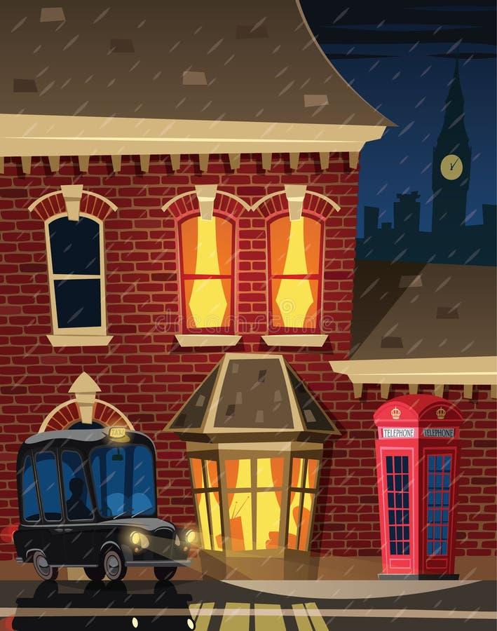 伦敦街道在晚上 皇族释放例证