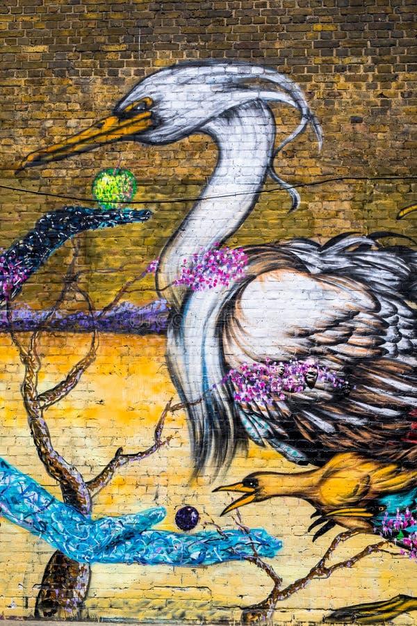 伦敦鸟街道街道画  免版税库存图片