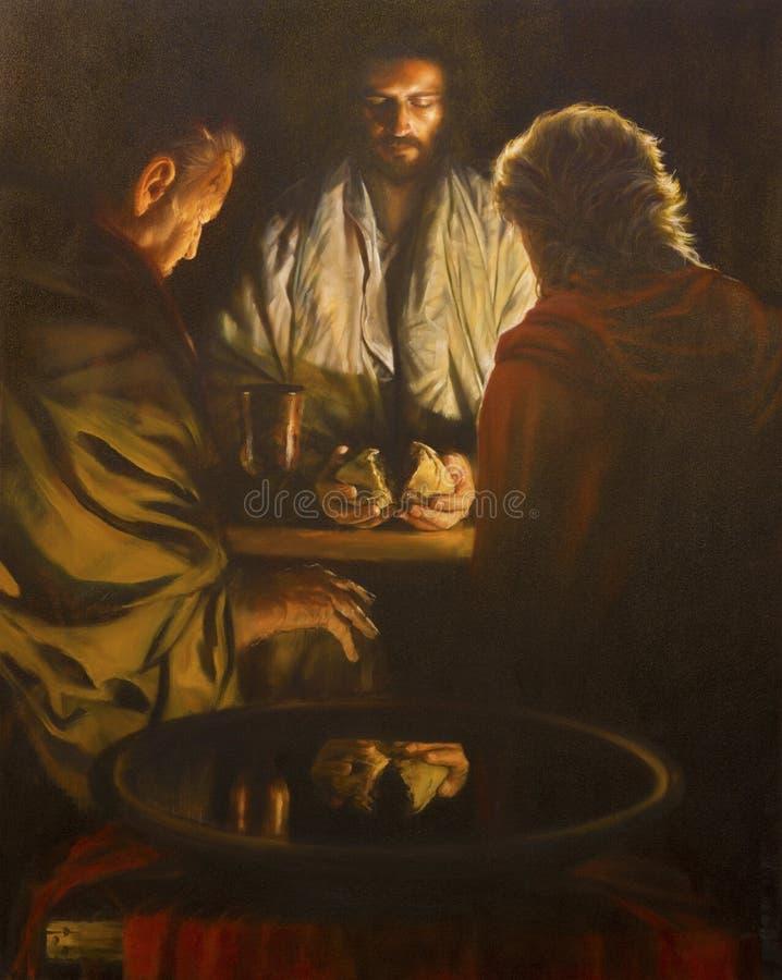 伦敦,大英国- 2017年9月, 18 :场面耶稣的绘画和Emausy的门徒 免版税库存照片