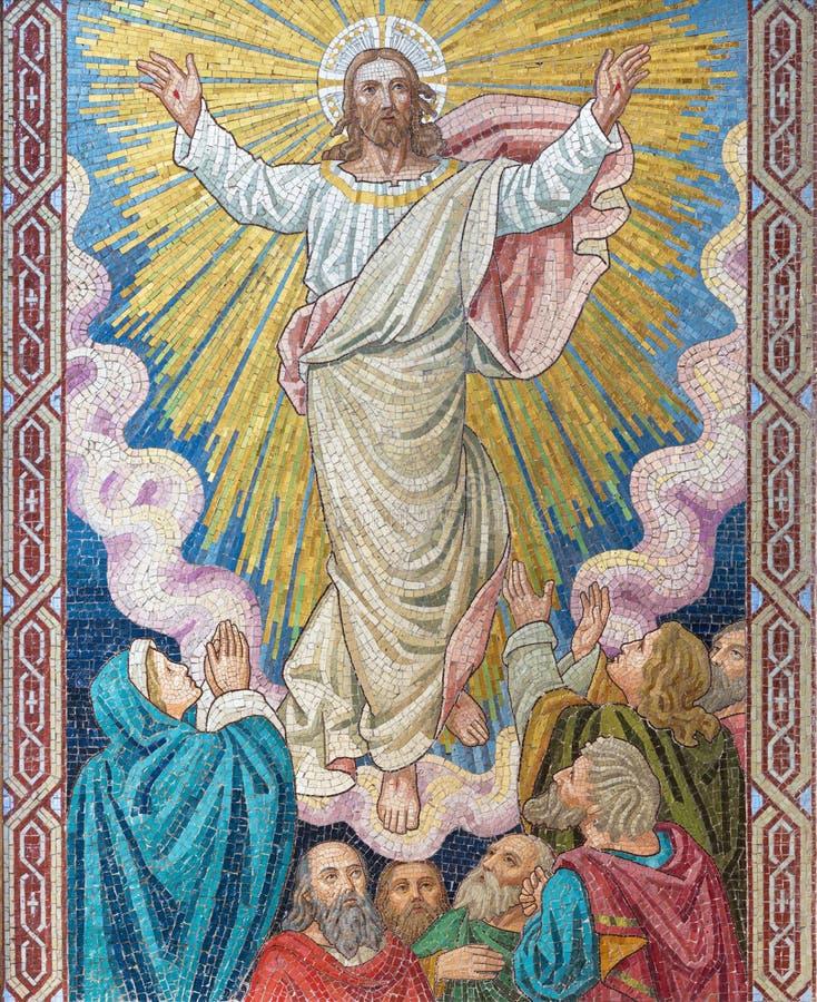 伦敦,大英国- 2017年9月17日:耶稣升天的马赛克教会圣的Barnabas 图库摄影