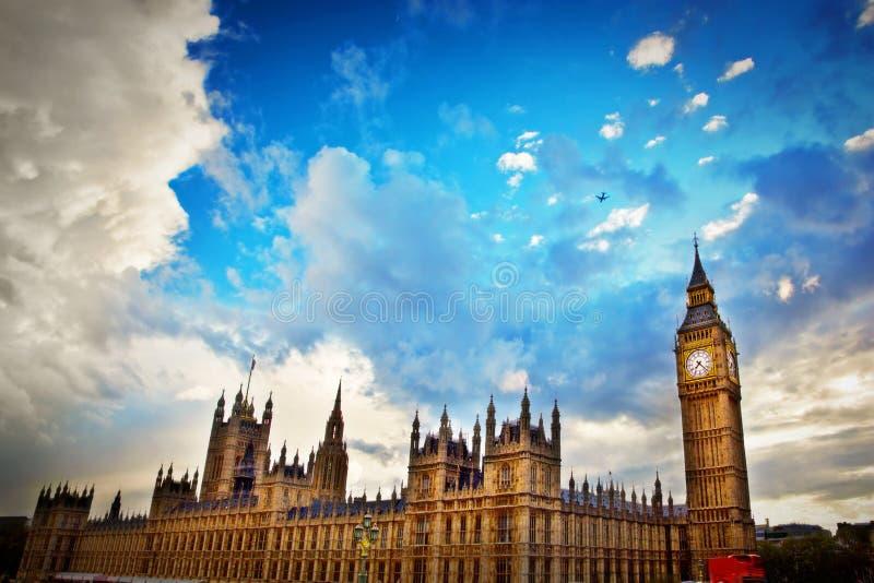 伦敦,英国。大本钟,威斯敏斯特宫 免版税库存图片