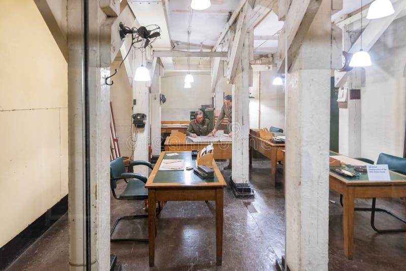 伦敦,英国- 2019年5月13日:在WW II期间,安置内阁作战室避难所的内部看法 库存图片