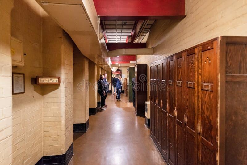伦敦,英国- 2019年5月13日:在WW II期间,安置内阁作战室避难所的内部看法 免版税库存图片