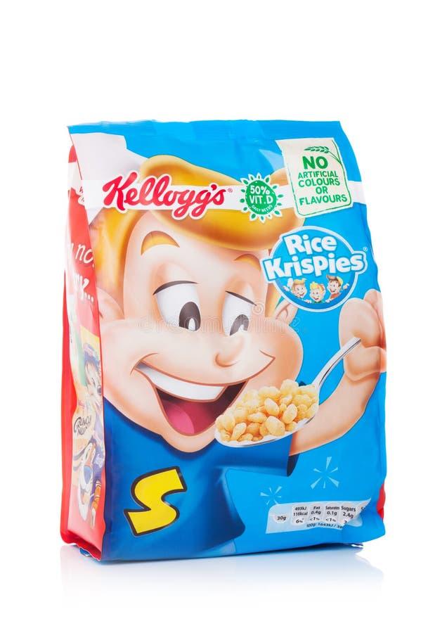 伦敦,英国- 2018年6月01日:盒凯洛格` s米Krispies在白色的早餐谷物 库存图片