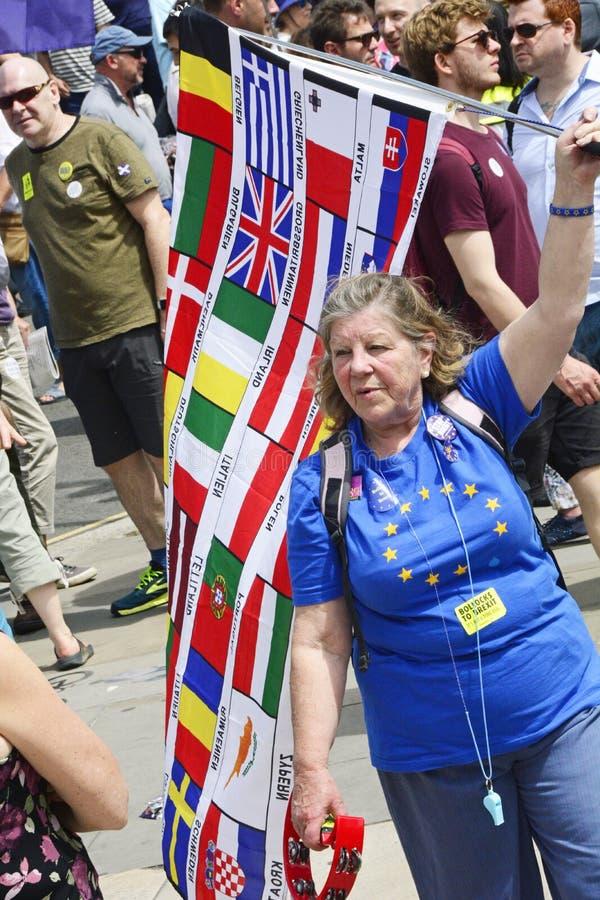 伦敦,英国 2018年6月23日 人` s表决抗议游行 免版税库存照片