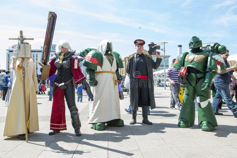 伦敦,英国- 5月26日:作为空间穿戴的Warhammer cosplayers马林 库存照片