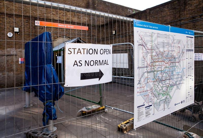 伦敦,英国- 2016年2月03日:对Bethnal绿色的入口 免版税库存照片