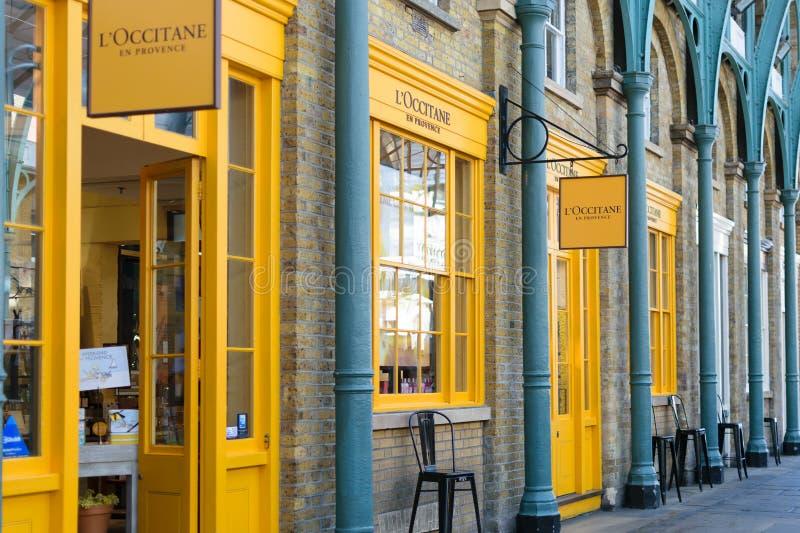 伦敦,英国- 2016年8月30日:L'Occitane en普罗旺斯商店门面在Covent市场上 免版税库存图片