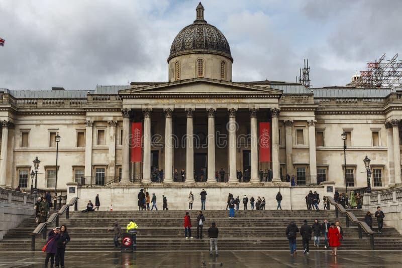 伦敦,英国- 2016年 03 02 :国家肖像馆在特拉法加广场的伦敦 免版税库存图片