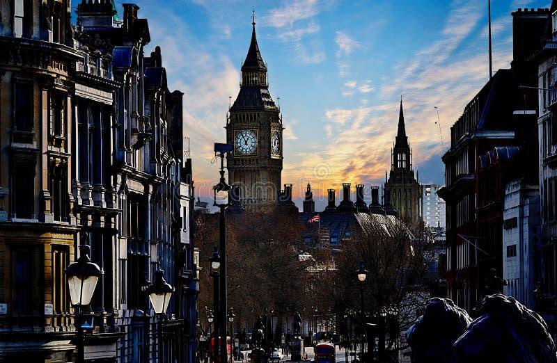 伦敦-大英国 大本钟的看法 免版税图库摄影