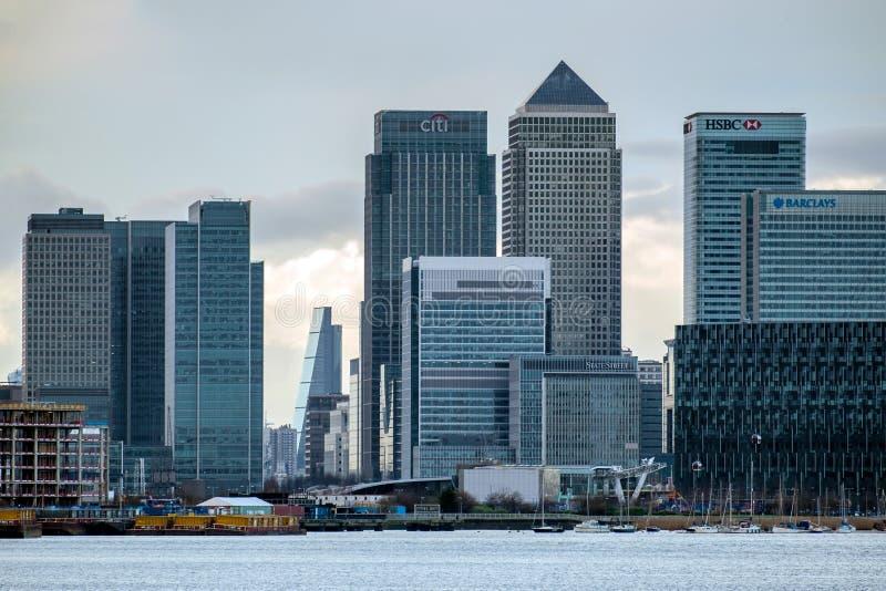 伦敦- 1月10 :当代大厦看法在港区Lo 库存图片