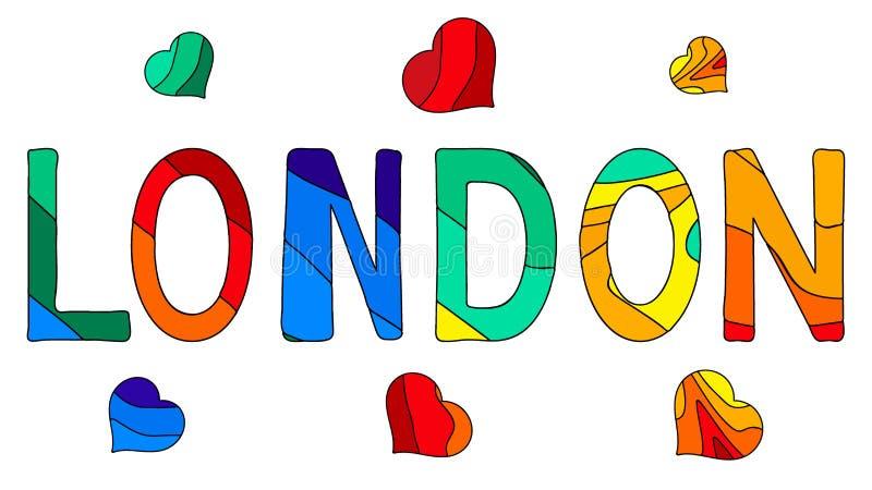 伦敦-滑稽的动画片多彩多姿的题字和心脏 皇族释放例证