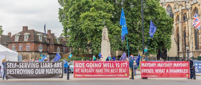 伦敦/英国- 2019年6月26日-亲欧盟横幅和抗议者有欧盟旗子的在议会对面在威斯敏斯特 免版税库存图片