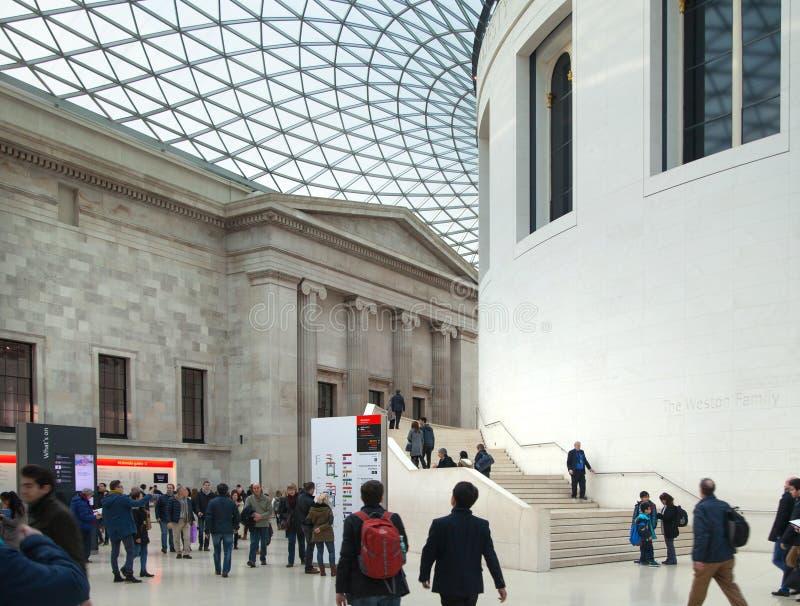 伦敦 主要大厅大英博物馆内部有图书馆建筑的在内在围场 图库摄影