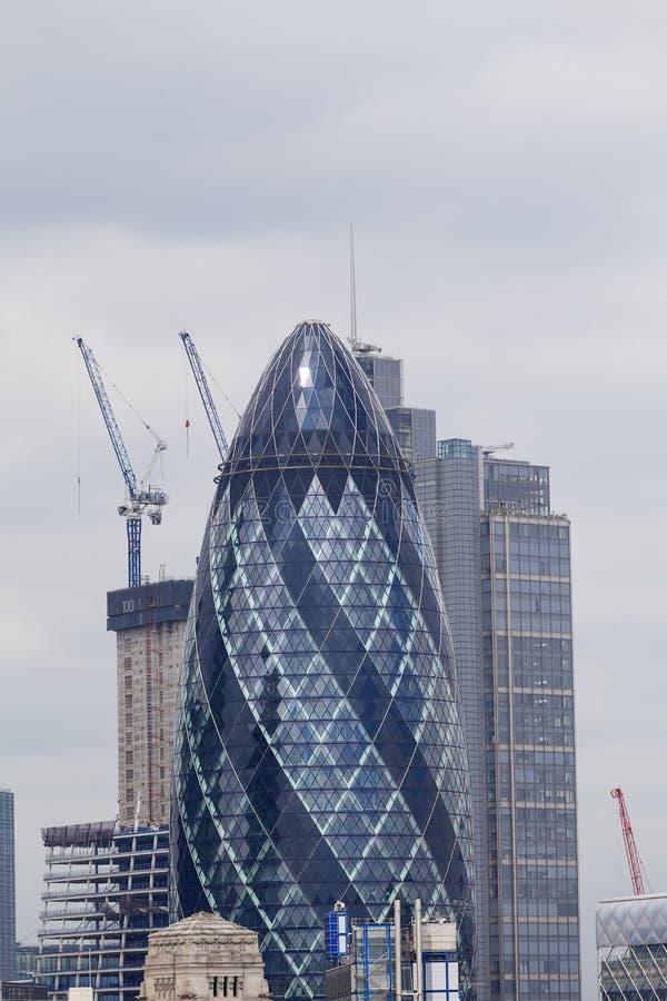 伦敦` s主要财政区,伦敦市,商业摩天大楼嫩黄瓜,伦敦,英国 库存照片