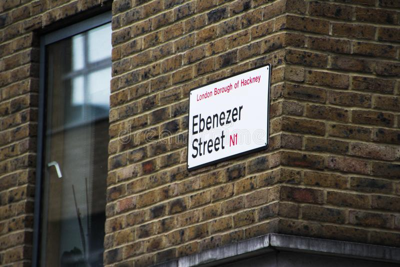 伦敦steet签到哈肯伊 免版税库存图片