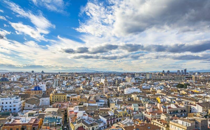 巴伦西亚市鸟瞰图 图库摄影