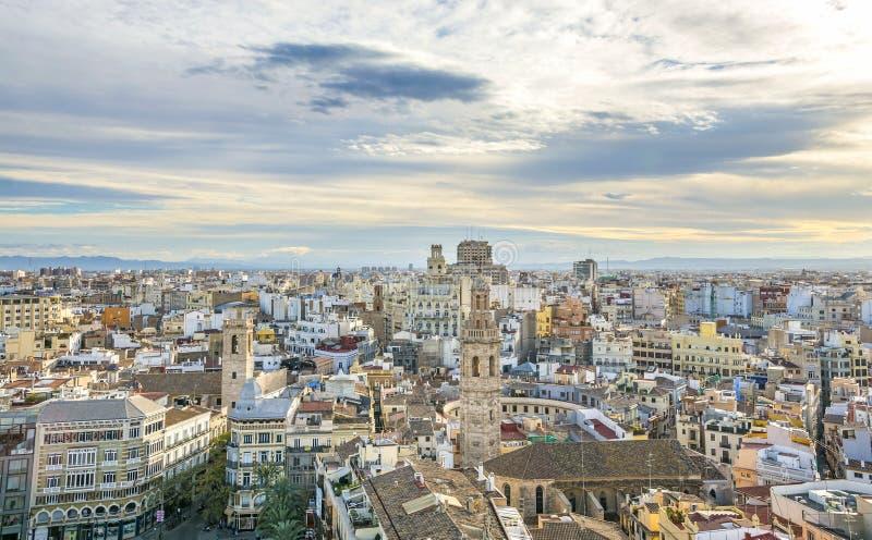 巴伦西亚市鸟瞰图 库存图片