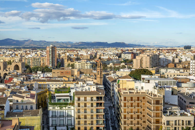 巴伦西亚市鸟瞰图 库存照片