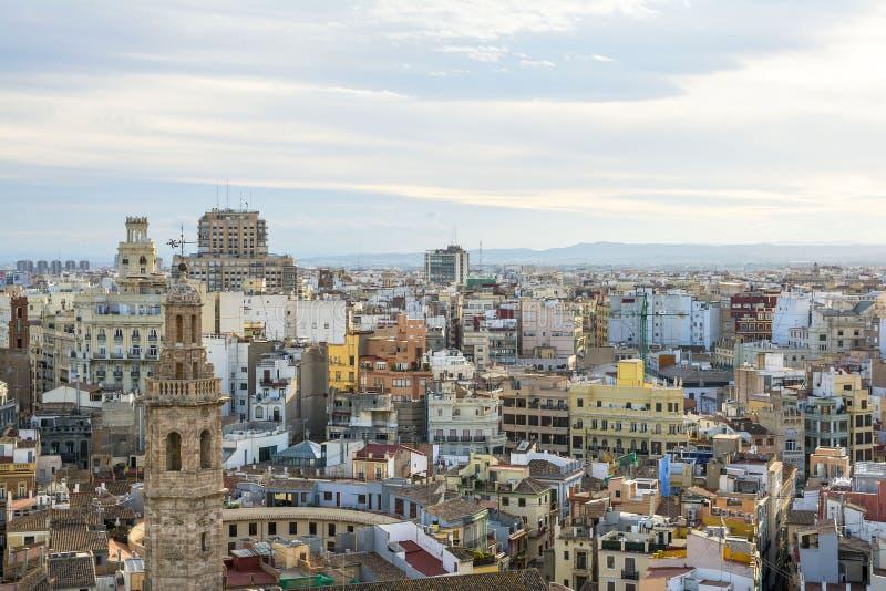巴伦西亚市鸟瞰图 免版税库存照片
