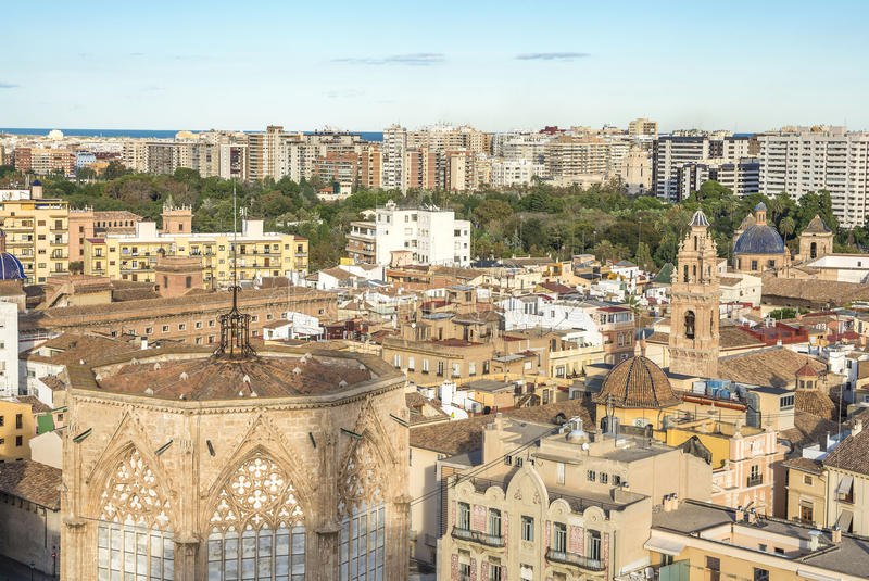 巴伦西亚市鸟瞰图 免版税库存图片